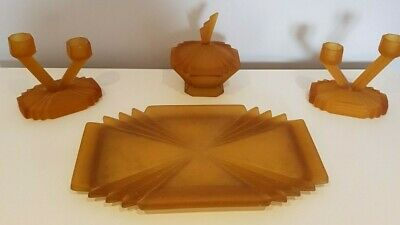 Vintage Art Deco style glass dressing table set - dark yellow/ mustard