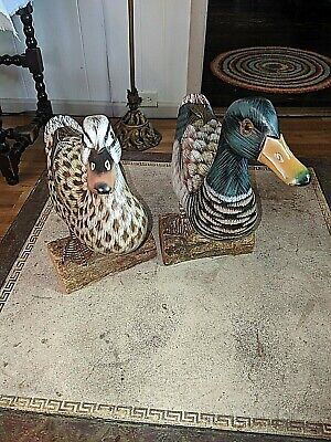 """Pair Vtg 9"""" & 10""""  Duck Statues Decoys Hand Carved Painted"""