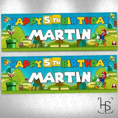 Nintendo Switch Super Mario Personalised Banner 160gsm Party Paper Birthday Game 9 99 Picclick Uk