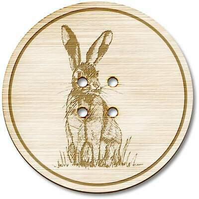 BT00055721 8 x 23mm /'Sitting Hare/' Round Wooden Buttons
