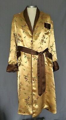 "Vintage Men's Robe Dressing Gown Smoking Jacket Gold Oriental   M L 40"" 42"""