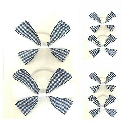 Handmade Girls School Gingham Navy  Blue /White Hair Bow Bobbles Sold In Pairs
