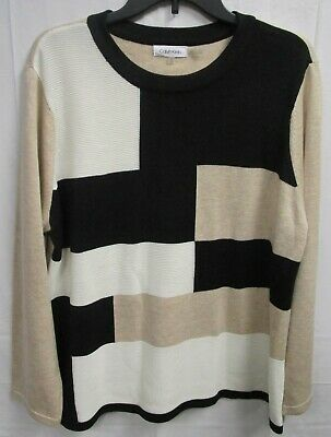 Gently Used Calvin Klein, Women's Multicolor Crew Neck Sweater, Sz. XL