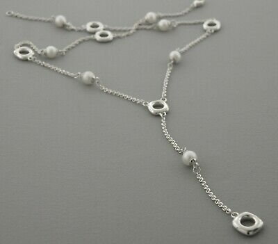 """Tiffany & Co. Sterling Silver Cushion Pearl Lariat Necklace 16"""""""