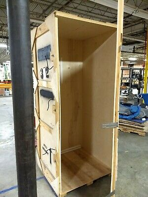 Wooden Shipping crate 36 x 38 x 89 Heavy Duty storage cargo with door hinge used