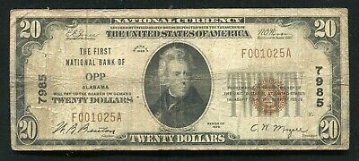 1929 $20 The First National Bank Of Opp, Alabama National Currency Ch. #7985
