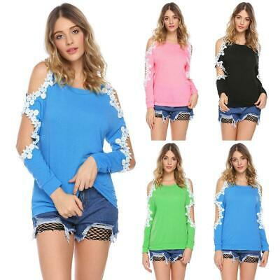 Women Casual O-Neck Long Sleeve Lace Patchwork Cold the Shoulder Sexy GDY7 01