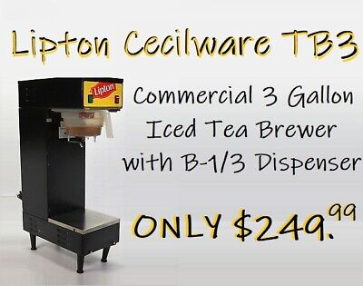 Lipton Cecilware TB3 3 Gallon Commercial Iced Tea Brewer with B-1/3 Dispenser