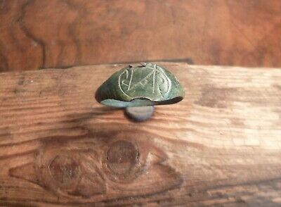 Ancient Romano Celtic Engraved Copper Ring-Metal Detecting Find