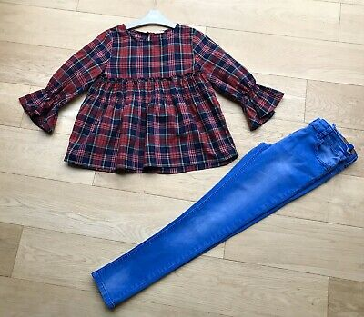 NEXT *10y GIRLS RED TARTAN DRESS TOP & JEANS OUTFIT AGE 10 YEARS