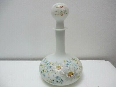 """Vintage Bristol Glass Decanter Opaque White Hand Painted Flowers 9 1/2"""" T"""