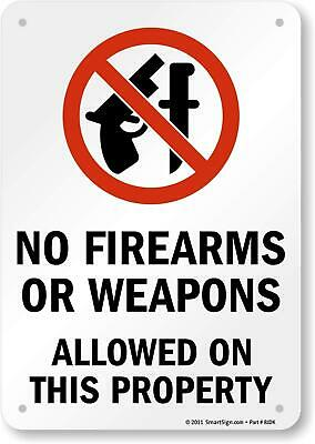 """2 Count /""""Security Notice No Concealed Weapons/""""  9 x 11.5 Laminated Security Sign"""