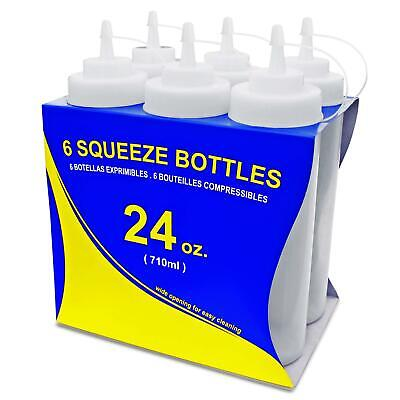 New Star Foodservice 26238 Squeeze Bottles, Plastic, Wide Mouth, 24 oz, Clear,