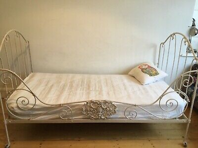 Lovely french antique wrought iron folding day bed