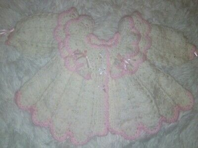 brand new hand crocheted baby girls matineee coat white & pink size 0-3 months