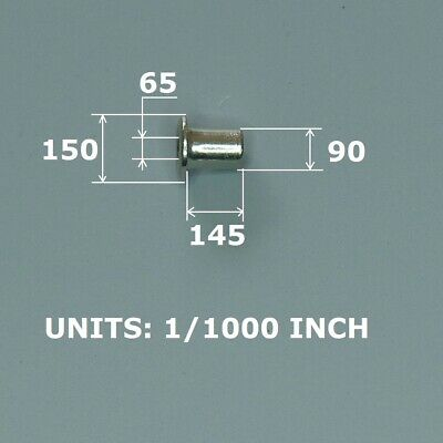 "100 Rivet / Eyelet For Pcb, Nickel Plated Copper. Closed Fit 0.100"" Hole."