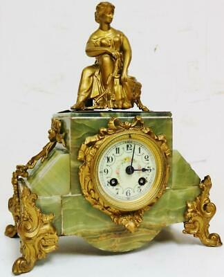 Antique French 8 Day Striking Gilt Metal & Green Onyx Lady Figure mantel Clock