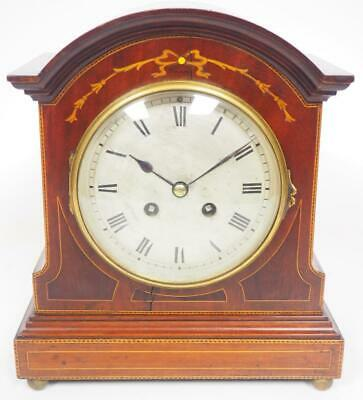Antique French Mahogany Mantel Clock 8Day Striking Mantle Clock Inlaid Case 1900