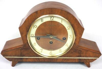 Fine Walnut Art Deco Westminster Chime Mantel Clock English Musical Mantle Clock