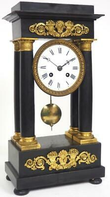 Antique French Portico Mantel Clock 8 Day Bell Striking Ebonised Mantle Clock