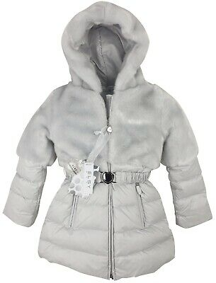 New Authentic Elsy Rrp £279 Age 12 Months Baby Grey Fur Down Jacket Coat Jk06