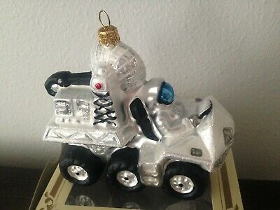 Astronaut in Moon Rover Car Vehicle Glass Christmas Tree Ornament Space Poland
