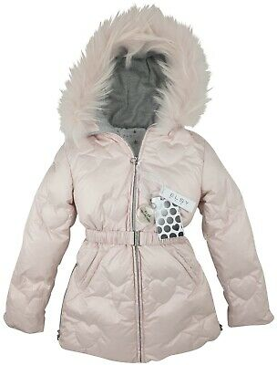 New Authentic Elsy Rrp £279 Age 7 Years Girls Pink Fur Down Jacket Coat Jk16