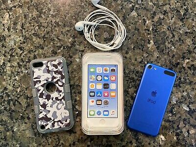 Apple 32GB 6th Generation iPod Touch Blue Case Headphones EUC Tested Works LN
