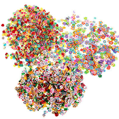 1000pcs Nail Art Craft Decor Stickers Cute Flower Fruit Fimo Polymer Clay Slices