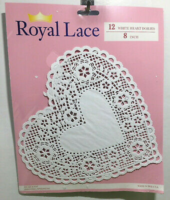 "White Lace Heart Valentine Paper Doilies 8"" Royal Lace 12/PK"