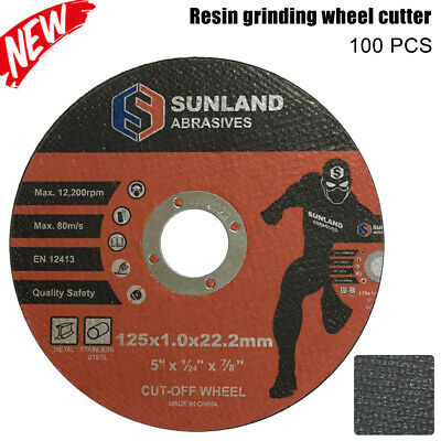 "125mm CUTTING DISC 5"" CUT OFF WHEELS ANGLE GRINDER METAL STEEL THIN FLAP x 100"