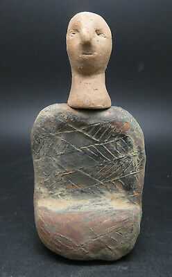 Rare Ancient Bactrian Chlorite Stone Carved Temple Diety