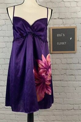 Morgan Taylor Intimates Womens pajamas gown purple with Pink flowers Size Small