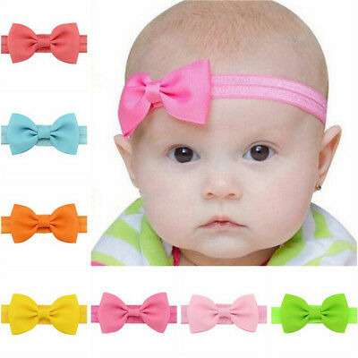20X Baby Girls Bow Headband Hairband Soft Elastic Band Hair Accessories PopuLD