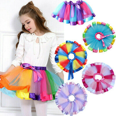 Baby Girls Kids Tutu Skirt Tulle Dance Ballet Dress Toddler Rainbow Bow Party