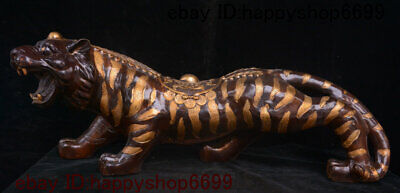 Collect Chinese Copper Bronze Fengshui 12 Zodiac Year Animal Tiger Beast Statue