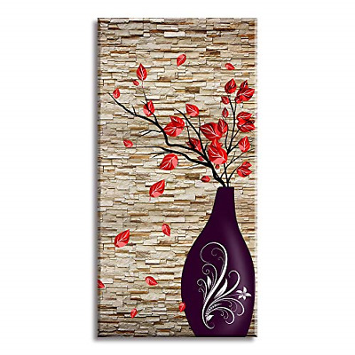 Canvas Wall Art for The End of Corridor, PIY Vertical Red Leaves Vase Picture 1""