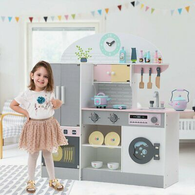 Large Kids Wooden Play Kitchen Cooker Role Play Childrens Pretend Toys & Utensil