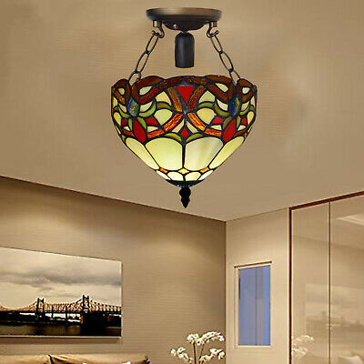 Hand Crafted Antique Design Beautiful Tiffany Ceiling Lamp Stained Glass Shade