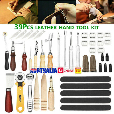 39pcs Leather Craft Punch Tools Stitching Carving Working Sewing Saddle DIY Kits