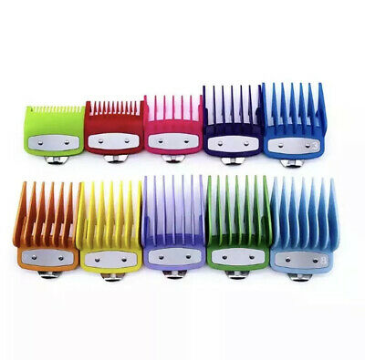 NEW 10 x PREMIUM COLOUR Clipper Combs Guards Attachments FULL SET Wahl Babyliss!