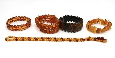 x 5 Collection of Plastic Amber Beaded Bracelets Necklaces #16346
