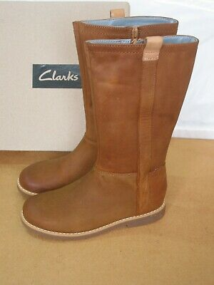 New Clarks Older Girls Comet Wild Tan Leather Long Boots Size 4.5 G Fit