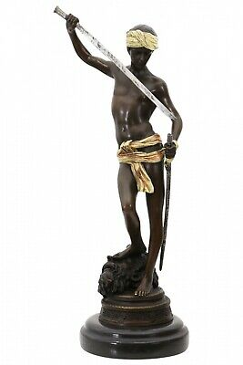 Escultura David Goliath de bronce figura antiqued estatua 33cm