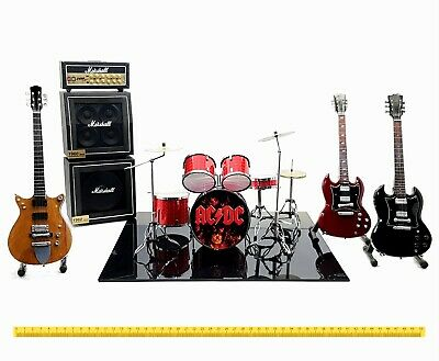 Mini live set AC/DC tribute 1:4 miniature drum + guitar Angus Young acdc gadget