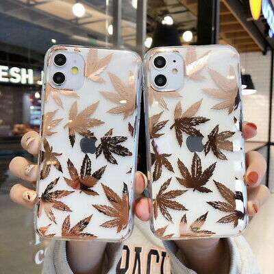 For iPhone 11 Pro Max Xs XR 7 8 6 Plating Gold Leaf Soft Rubber Slim Case Cover