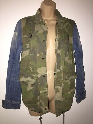 River Island Ladies / Girls Denim Jeans Camouflage Coat Jacket Size 6