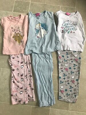 girls disney pyjamas x 3 cotton age 5-6 beauty beast cinderella vgc primark