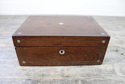 Antique 19th Century Rosewood & Mother Of Pearl Inlaid Work Sewing Jewellery Box