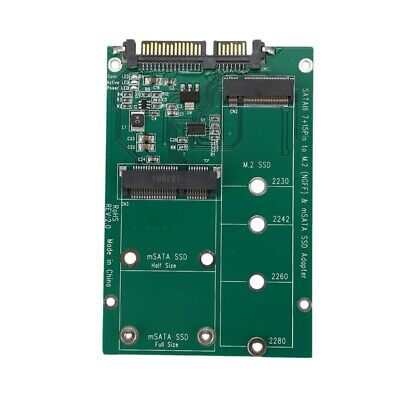 2 in 1 Mini PCI-E 2 Lane M.2 And mSATA SSD To SATA III 7+15 Pin Adapter  E1T7